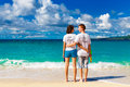 Just married young happy loving couple having fun on the tropica tropical beach Royalty Free Stock Photography