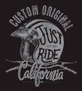 Just ride helmet with handle bar, t shirt print
