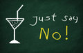 Just say no on the blackboard draw glass and write Royalty Free Stock Photography