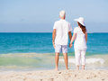 Just us and the ocean happy couple together on beach Royalty Free Stock Photography