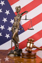 Justice and american flag Stock Image