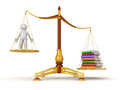 Justice balance with books and man clipping path included image Stock Photos