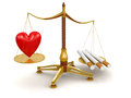 Justice balance with cigarettes and heart clipping path included image Stock Photography