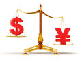 Justice balance with currency clipping path included image Stock Image