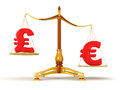 Justice balance with currency clipping path included image Stock Photography