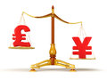 Justice balance with currency clipping path included image Royalty Free Stock Photography