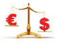 Justice balance with currency clipping path included image Royalty Free Stock Photos