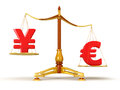 Justice balance with currency clipping path included image Stock Photo