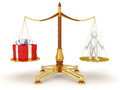 Justice balance with gift and man clipping path included image Royalty Free Stock Image