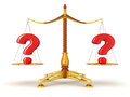 Justice balance with quest clipping path included image Royalty Free Stock Photo