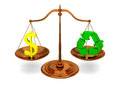 Justice and ecology in concept of profit versus recycling with bronze scale isolated on white background Royalty Free Stock Photography