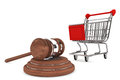 Justice Gavel with Shopping Cart Royalty Free Stock Photo