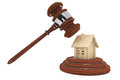Justice Gavel with wooden House Stock Image