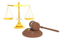 Justice gold scale and wooden gavel Royalty Free Stock Photos