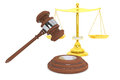 Justice gold scale and wooden gavel Stock Photo