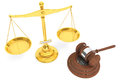 Justice gold scale and wooden gavel Royalty Free Stock Photo