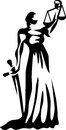 Justice lady stylized black and white illustration Royalty Free Stock Photography
