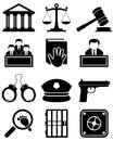 Justice law black white icons collection of and and order isolated on background eps file available Royalty Free Stock Photos
