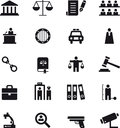Justice and law enforcement icon set Royalty Free Stock Photo