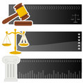 Justice law horizontal banners a collection of three and legal with a gavel a golden scales and an ancient greek column icon on Royalty Free Stock Image