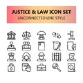 Justice, Law and legal pixel perfect icons set in Unconnected Outline