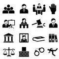 Justice and legal icons icon set Stock Image
