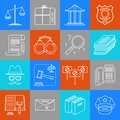 Justice lineart minimal vector iconset on multicolor checkered texture Royalty Free Stock Photo