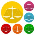 Justice scale icon set Royalty Free Stock Photo