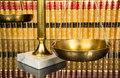 Justice scale with law books scales of in the background Royalty Free Stock Photography