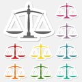 Justice scale stickers set Royalty Free Stock Photo
