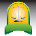 Justice scales in green display Royalty Free Stock Image