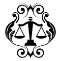 Justice scales vector floral icon with Stock Photos
