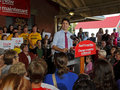 Justin trudeau election speech sussex federal liberal party leader visits new brunswick oct in the canadian federal campaign Stock Image