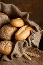 Jute bag with bread Royalty Free Stock Image