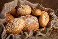 Jute bag with bread Royalty Free Stock Photography