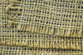 Jute cloth background with fringes and texture Royalty Free Stock Photos