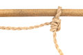 Jute Rope with Adjustable Grip Hitch Knot on White Royalty Free Stock Photo