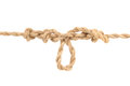 Jute Rope with Dropper Loop Knot on White Royalty Free Stock Photos