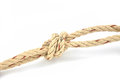 Jute rope with sheepshank on white background Royalty Free Stock Photo