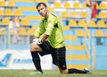 Juventus bucharest rapid bucharest goalkeeper reacts during a friendly game between and won Royalty Free Stock Photos
