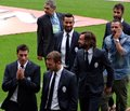Juventus players in suits turin italy Stock Photography