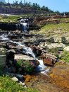 4k Amazing Rocky Mountain high glacier stream waterfall in the summer Royalty Free Stock Photo
