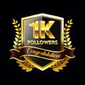1K Followers gold ribbon, for banner, website, and other social media.