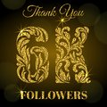 6K Followers. Thank you banner. Golden letters with sparks on a dark background.