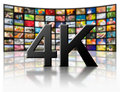 K resolution tv concept television technology on white Stock Photos