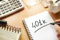 401k written in a note. Royalty Free Stock Photo