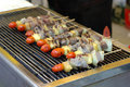 Kabobs on the grill Royalty Free Stock Photo