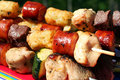 Kabobs On The Grill Stock Photos