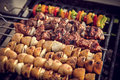Kabobs meat potato and vegetable Royalty Free Stock Photography