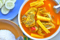 Kaeng somname of thai food is hot and sour spicy head fish bamboo shoot Royalty Free Stock Photo